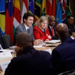 "Canadian Prime Minister, Justin Trudeau (third from left), participates in a roundtable discussion with small island and coastal leaders, ahead of the Commonwealth Heads of Government Meeting (CHOGM) in London, UK, in April. The Canadian Prime Minister met with Kenya's President, Uhuru Kenyatta, at Lancaster House in London, on the margins of the CHOGM, where Trudeau referred to ""the great relationship between Kenya and Canada"". Photo credit: Adam Scotti (PMO)."