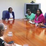 Dr. Douglas Slater (second from right) CARICOM's Assistant Secretary General, Human and Social Development, and team meeting with Rogelio Sierra Diaz (second from left), Vice-Minister of Cuba, and his team at the CARICOM Secretariat in Guyana.