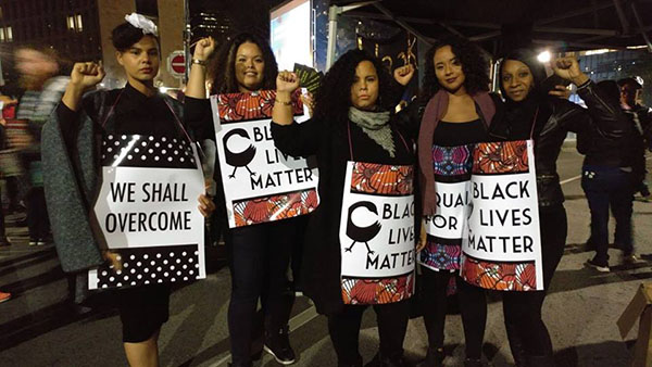 Black Lives Matters members protest Toronto police civil rights abuses. Photo credit: BLMT.