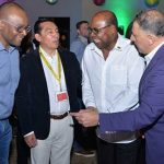 Tourism Minister, Edmund Bartlett (second right), shares a light moment with (from left) Director of Tourism, Donovan White; President of the Metropolitan Association of Travel Agents in Mexico, Edgar Solis; and the Jamaica Tourist Board's Latin America Business Development Manager, Alex Pace. The occasion was the opening ceremony of the Jamaica Product Exchange (JAPEX) on Sunday (September 23), at the Montego Bay Convention Centre, in St. James. Photo credit: Garwin Davis/JIS.