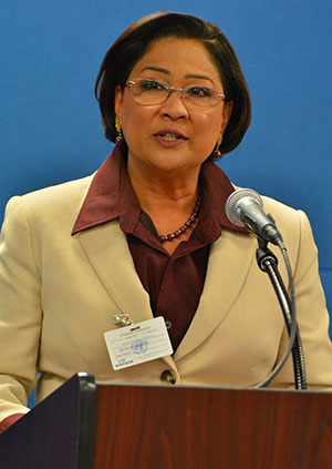 Opposition Leader of Trinidad and Tobago, Kamla Persad-Bissesar. Photo by Control Arms - https://www.flickr.com/photos/controlarms/9936466353/, CC BY 2.0, https://commons.wikimedia.org/w/index.php?curid=32085372