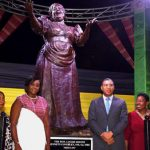 Witnessing the unveiling of the Miss Lou statue were (from left to right): A guest; Former Canadian Citizenship Judge, Dr. Pamela Appelt, Vice-president of Harbourfront Centre and co-executor of the Louise Bennett Coverley Estate; Member of Parliament for East Rural St. Andrew, and wife of the Prime Minister, Juliet Holness; Jamaican Prime Minister, Andrew Holness; Minister of Culture, Gender, Entertainment and Sport, Olivia Grange; and Fabian Coverley, son of Miss Lou and co-executor of the Louise Bennett Coverley Estate. Photo credit: Mark Bell Photos.