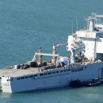The RFA Mounts Bay is the mobile hub of the British relief effort.