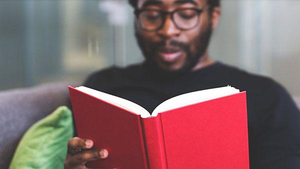Black university student reading