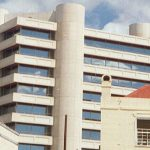 Close-up of the Central Bank of Barbados headquarters, located in the city of Bridgetown. (c.a. November 2000). Photo credit: CaribDigita.