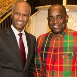 Canadian Minister of Immigration, Ahmed Hussen (left), seen with Dominica Prime Minister, Roosevelt Skerrit, at the Dominica 40th Independence Anniversary gala celebration, last Saturday. Photo by Robert Larocque.