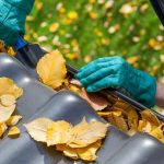 Clean out your gutter and downspouts. Once leaves begin to fall, they will fill your gutter and downspouts, blocking water from draining off your roof.