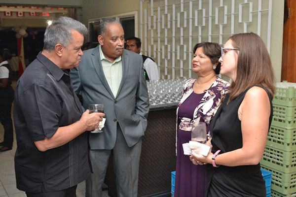 Canadian High Commissioner, Lilian Chatterjee (second from right), interacting with members of the local private sector.
