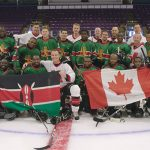 The Kenyan hockey team, the Ice Lions, seen at the end of the game they played with an opposing Canadian team, including alongside NHL stars, Sydney Crosby and Nathan MacKinnon.