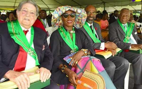 Newly conferred Members of the Order of Jamaica (OJ), at the ceremony of Investiture and Presentation of National Honours and Awards, on Monday (October 15), at King's House (from left): Giuseppe Francesco Maffessanti, Grace Jones, Earl Wesley Jarrett, and Godfrey Dyer. Photo credit: Rudranath Fraser/JIS.
