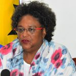Barbados Prime Minister, Mia Mottley, addressed the nation, on a radio and television broadcast, on Sunday night. Photo credit: FP.