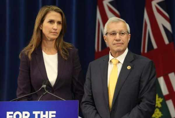 Ontario's Minister of Finance, Vic Fideli (right), and Attorney General, Caroline Mulroney, announced changes to Ontario's cannabis retail model in August.