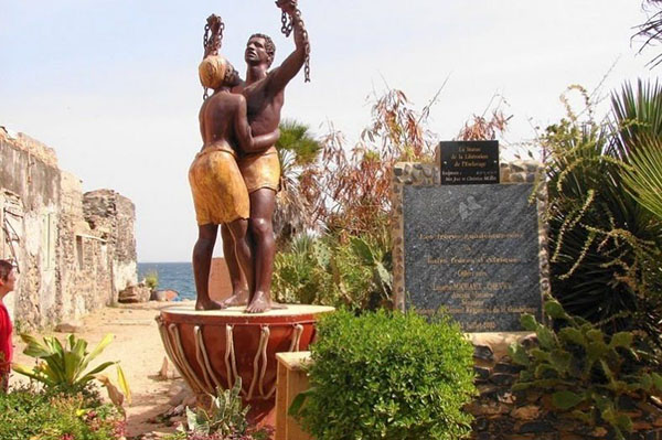 The freedom statue on Goree Island.