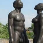 "The ""Redemption Song Monument"", by Laura Facey, that is mounted in Jamaica's Emancipation Park. Photo courtesy of Emancipation Park.org."