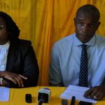 Acting Political Leader of Grenada's main opposition National Democratic Congress (NDC), Joseph Andall (right) and Claudette Joseph, a senior member of the Party, hold a press conference at the Party's head quarters.