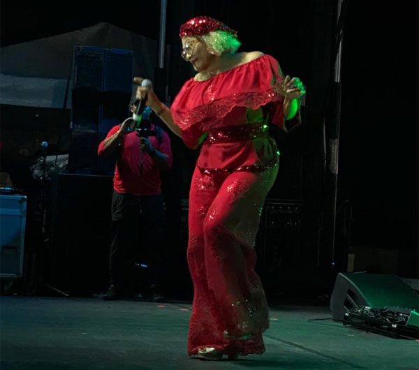 Marcia Griffiths performs at the Grace Jerk Fest. Photo Credit: Alyssa Nichollas