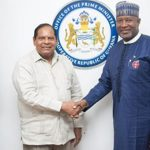 Prime Minister, Moses Nagamootoo (left), who held talks with a Nigerian delegation, led by the Minister of State Aviation, Hadi Sirika (right) said Guyana is open for business and it especially welcomes investments from the African continent.