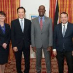 Trinidad and Tobago Prime Minister, Dr. Keith Rowley (grey suit), and BPTT Regional President, Claire Fitzpatrick, (second from left) seen flanked by Cabinet ministers and officials from BP Trinidad and Tobago.