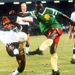 Cameroonian legend, Roger Milla (Centre), in action against England in the 1990 World Cup. EPA.