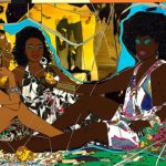 Detail from Mickalene Thomas's 'Le Dejeuner sur l'herbe: Les trois femmes noires' which is part of a show called 'Femmes Noires' currently at the Art Gallery of Ontario. The Rachel and Jean-Pierre Lehmann Collection © Mickalene Thomas.