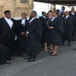 Members of the Grenada Bar Association (GBA) in silent protest. Photo credit: Caribbean Media Corp.