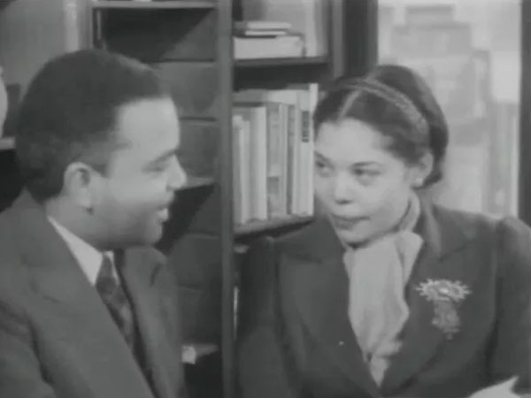 Ann Petry (right) was interviewed after she won a fiction award for 'The Street'. Photo credit: All-American news 4 / All American news IV / All-American news reel no. 4/Library of Congress.