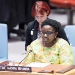 Justine Masika Bihamba at the UN Security Council in 2018.
