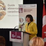 Health Minister, Ginette Petitpas Taylor, addresses the audience at the unveiling of Canada's new Food Guide, on January 22, 2019 in Montréal.