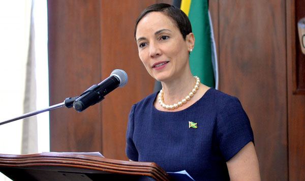 Foreign Affairs and Foreign Trade Minister, Senator Kamina Johnson Smith, provides an update of developments with State refinery, Petrojam, during a press conference at Jamaica House on Tuesday (February 12). Photo credit: Dave Reid.