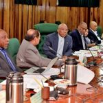 "Guyana President, David Granger (fourth from left), and his ministers meeting in ""plenary"" session, today."