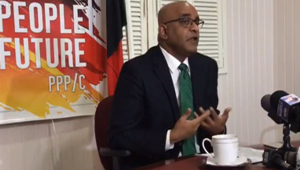 Opposition Leader, Bharrat Jagdeo, addressing news conference. Photo credit: CMC.