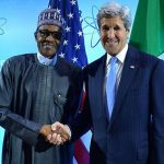 Nigerian President, Muhammadu Buhari, poses for a photo with former US Secretary of State, John Kerry, on March 31, at the 2016 Nuclear Security Summit in Washington, D.C.. Photo by U.S. Department of State from United States -- Public Domain, https://commons.wikimedia.org/w/index.php?curid=47898370.