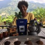 Dorianne Rowan-Campbell is an organic coffee farmer in Jamaica. Taking over her father's farm in 1992 and turning it into an organic one, was a huge risk at the time. However, she sustainably grows 1,800 coffee trees and harnesses nature to deal with pests, rather than using pesticides. Photo courtesy of Dorienne Rowan-Campbell.