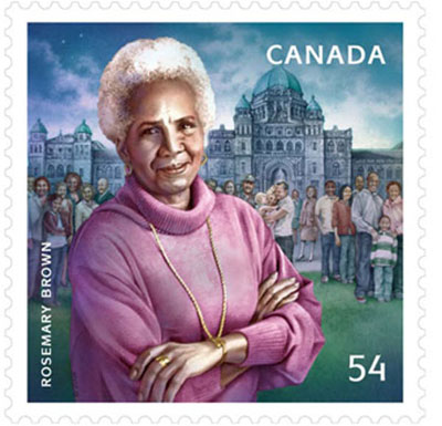 Rosemary Brown on a Canadian stamp. Courtesy of Canada Post.