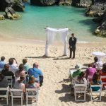 A wedding being held on Jobson's Cove Beach in Bermuda.