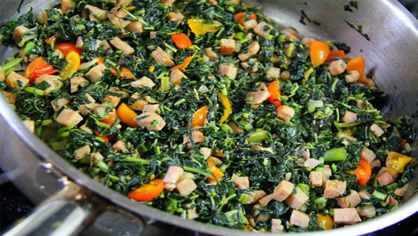 Jamaican Callaloo (Spinach) With Diced Ham