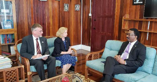 "Attorney General and Minister of Legal Affairs, Basil Williams, was paid a courtesy call, in his office, by United States officials in Guyana, Ambassador, Sarah-Ann Lynch, and Consul General, Jerome N. Epping Jr, last week Wednesday. The trio held ""deep"" discussions, which focused, primarily, on the legal responsibilities between the two countries, among other things, according to the Guyana's Department of Information."