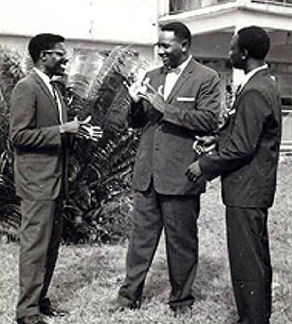 Andrew Foster, centre, with his two most successful proteges: Seth Tetteh-Ocloo (left) from Ghana and Gabriel Adepoju (right), a Nigerian. Tetteh-Ocloo went on to lead the Ghana National Association for the Deaf. Photo courtesy of Gallaudet University Archives. Author provided.