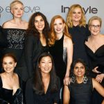 These women used the word intersectionality to indicate solidarity across race and class. Back row: Activist Tarana Burke, Michelle Williams, America Ferrera, Jessica Chastain, Amy Poehler, Meryl Streep, and Kerry Washington; front row: Natalie Portman, activist Ai-jen Poo, and activist Saru Jayaraman. Photo credit: Golden Globes.