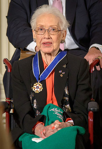 Katherine Johnson pictured in 2008. Her work at NASA's Langley Research Center spanned from 1953 to 1986, and included calculating the trajectory of the early space launches. Photo credit: Public Domain.
