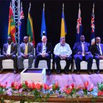 Heads of Governments of the OECS Member states at the Opening Ceremony of the Special Meeting of the OECS Authority and ceremony of the accession of Guadeloupe to the OECS. Photo credit: Région Guadeloupe.