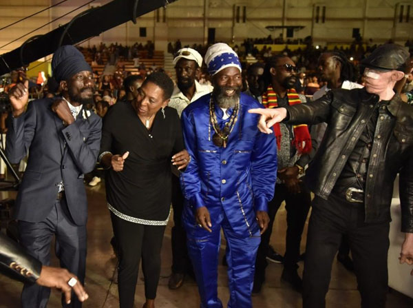 Olivia Grange (second left), Minister of Entertainment, seen with dancehall artistes (from left) Sizzla Kalonji, Capleton and Yellowman. Photo credit: Donald De La Haye/JIS.