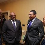 Caribbean leaders (from left to right): Haitian President, Jovenel Moise; Bahamas Prime Minister, Dr. Hubert Minnis; Jamaica's Prime Minister, Andrew Holness, and Jamaica's National Security Minister, Dr., Horace Chang, meet ahead of their talks with US President, Donald Trump. Photo courtesy of Jamaica's Prime Minister's Office.