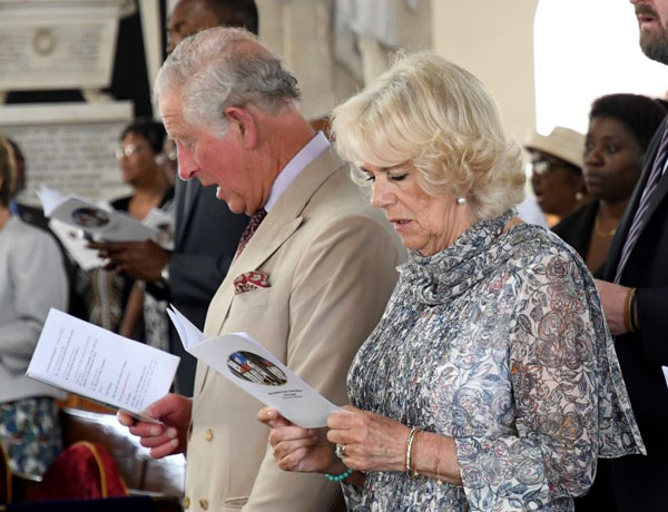 The Prince of Wales and the Duchess of Cornwall at a service at St. Michaels Cathedral.