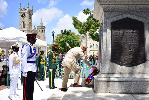 His Royal Highness, The Prince of Wales, laying a wreath at the Cenotaph in National Heroes Square today on his official visit to Barbados. Photo credit: C. Pitt/BGIS.