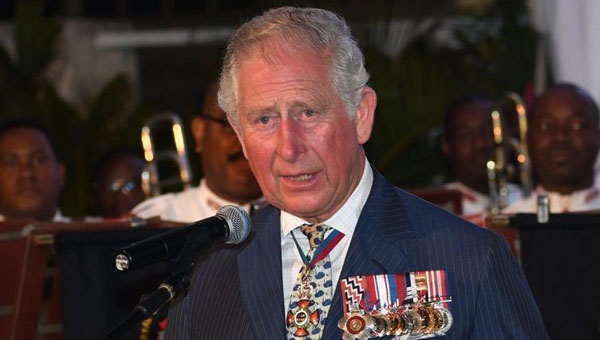 His Royal Highness, Prince Charles of Wales, addressing attendees at the Governor General's Official reception. Photo credit: E. Brookes/BGIS.