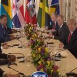 Caribbean leaders (on left) meeting with US President, Donald Trump, and his delegation.