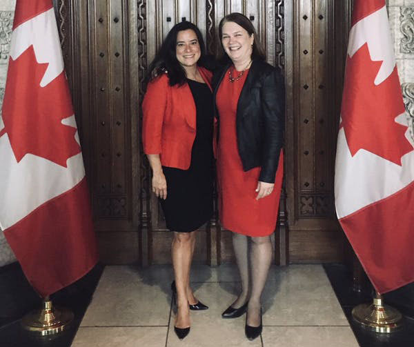 Former Liberal cabinet ministers, Jody Wilson-Raybould (left) and Jane Philpott, in a photo that Wilson-Raybould posted on Twitter the day of Philpott's resignation. Photo credit: Jody Wilson-Raybould/Twitter.