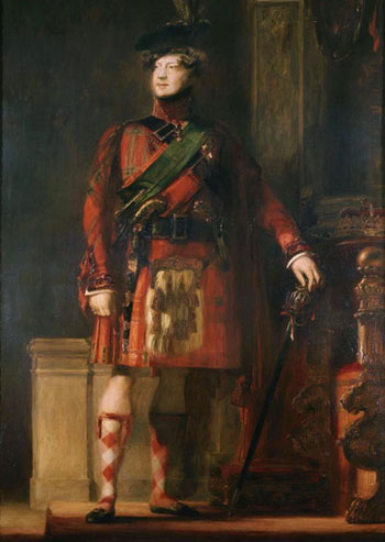 Portrait by David Wilkie painted in 1829, of King George IV in kilt during the visit to Scotland in 1822. Photo credit: Wikipedia Commons.