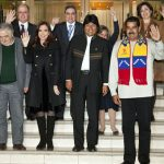 Venezuela's President, Nicolás Maduro Moros, with other Latin American leaders participating in a 2013 Union of South American Nations (UNASUR) summit. Photo by Cancillería Ecuador from Ecuador - UNASUR respalda a Presidente Evo Morales, CC BY-SA 2.0, https://commons.wikimedia.org/w/index.php?curid=30102912.